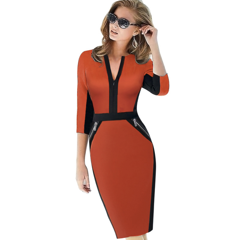 Plus Size Front Zipper Women Work Wear Elegant Stretch Dress Charming Bodycon Pencil Midi Spring Business Casual Dresses 837(China (Mainland))