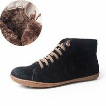 Phụ Nữ Thu Đông Cổ Chân Mùa Đông Giày Đi Chân Trần Balo Da Thật Nam Thoải Mái Mềm Chất Lượng Handmade Flat Giày Boot Lông Thú(China)