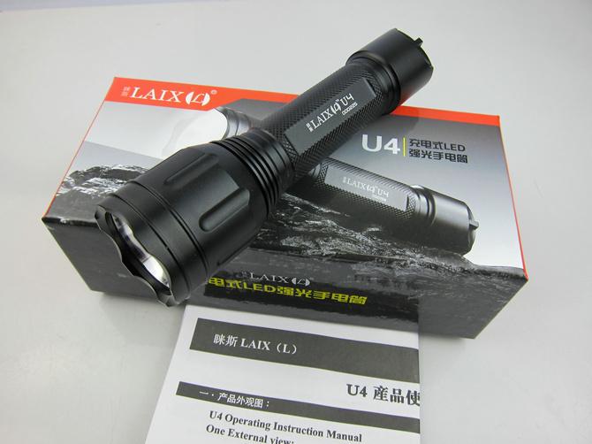LAIX U4 LED Flashlights Solar Flashlight Torch Cree Q5 6063-T6 Aluminum alloy 1* 18650 + Charger(China (Mainland))