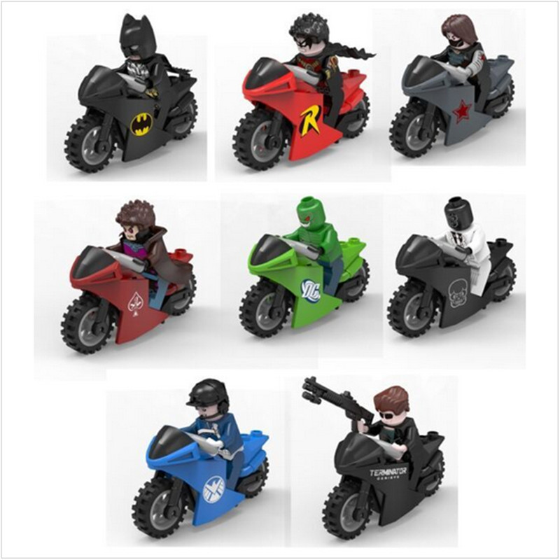 1 Figure + 1 Motocycle Winter Soldier Bucky Super Heroes The Avengers Batman Minifigures Building Blocks Kids Toy Gift<br><br>Aliexpress