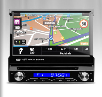 "7""Single 1 DIN Car DVD Player GPS Navigator Detachable HD Touch Screen CD Radio Stereo Support External DVR DVD 1 Din Car Audio(China (Mainland))"