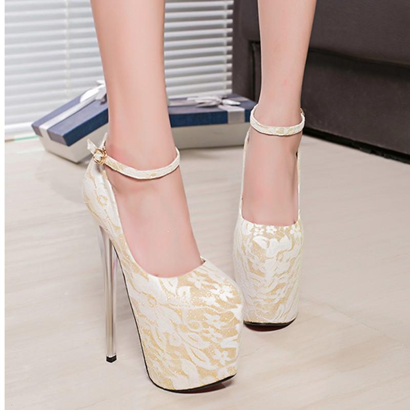 ซื้อ ใหม่ลูกไม้ส้นสูงที่มีปรับ19เซนติเมตรลมชาติพันธุ์ไนท์คลับรองเท้าแฟชั่นรองเท้าส้นสูง