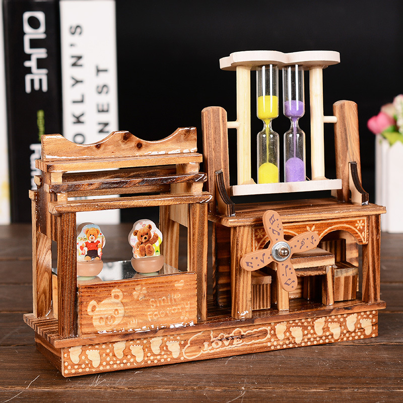 New Classical Rotary Bear Dancer Hourglass Music Box Creative Artware Gift Wooden Crafts Home Decor Couple Gifts(China (Mainland))