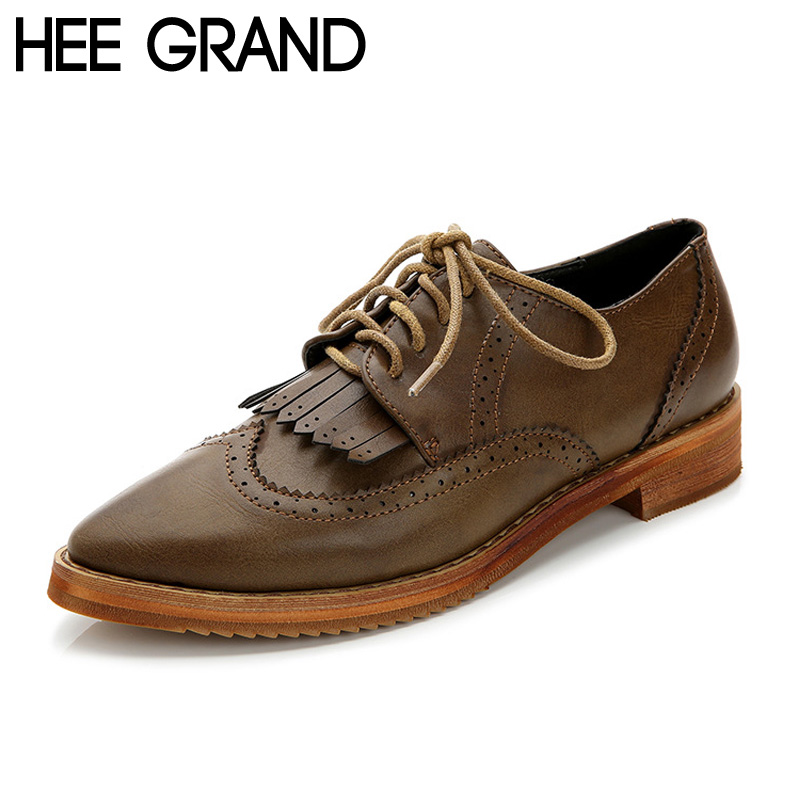 HEE GRAND Women Oxfords Tassel Pointed Toe Brogue Shoes Spring Autumn PU Leather Women Flats Lace up Shoes Woman XWD4580(China (Mainland))