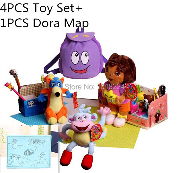 AliExpress.com Product - 4PCS Dora Toys Set with Dora Map Dora the Explorer Doll for Kids Girls plush Boots the Monkey Swiper Fox Dora Backpack as gifts