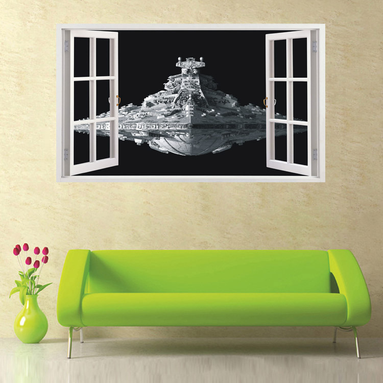 Hot Sale 3D Sticker Spaceship Wall Sticker Great Ship Waterproof  Removable DIY Paster Home Decoration Creative Wallpaper