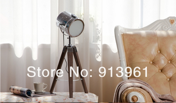 2015 Newest Design PARIS RETRO Table Lamp Desk Light Searchlight Royal Air Force Wood Tripod With Silver & Champagne Colors