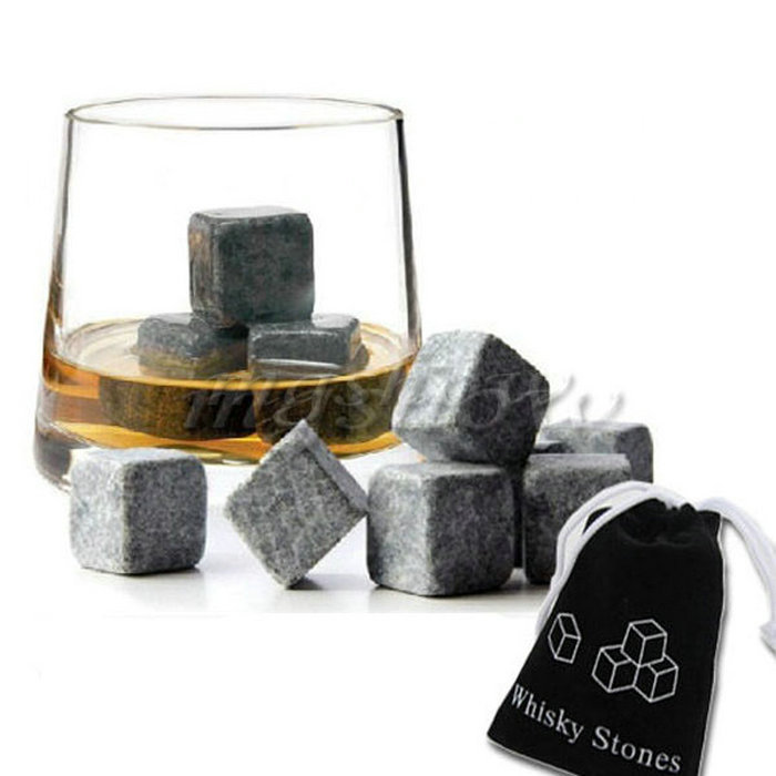 Whisky Ice Stones Drinks Cooler Cubes Beer Rocks Granite Pouch Drink ...