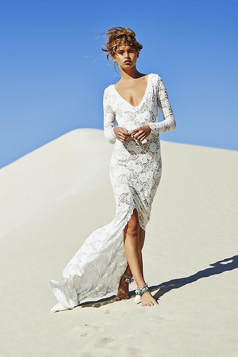 Bohemian beach high low modest lace wedding dresses long for Long sleeve high low wedding dresses