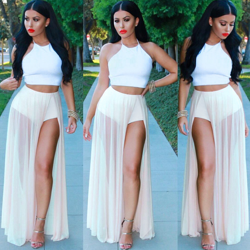 two pieces set women 2016 summer slim sexy crop top&maxi long chiffon skirt bustier camisole mesh white patchwork vestidos d216(China (Mainland))