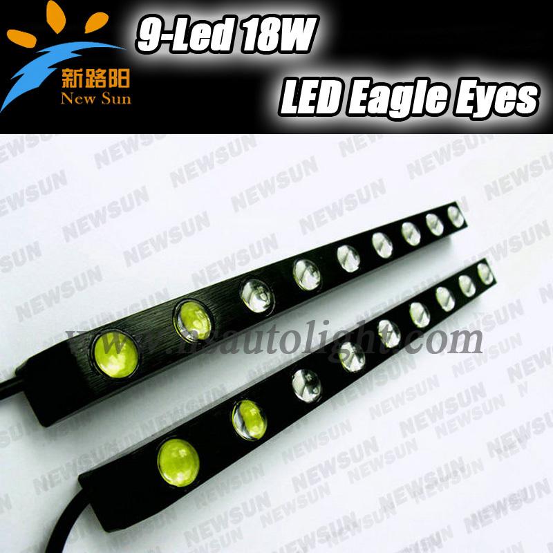 Xenon white Eagle Eye 9 LED Head Lamp 12V 18W Universal Car Daytime Running Light, Waterproof Day Lights Aluminum Driving Light(China (Mainland))