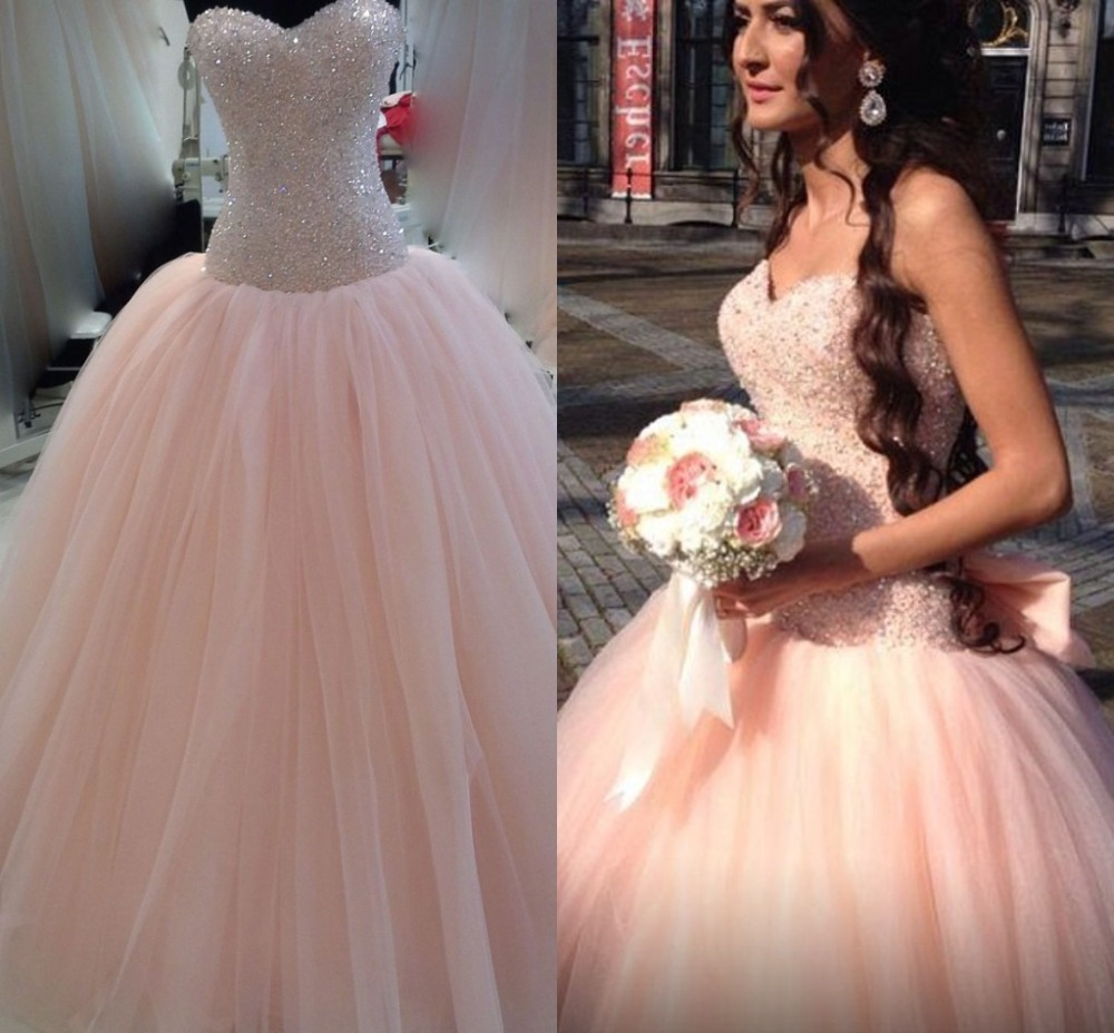 Modest colored peach wedding dress vestido de noiva 2015 for Wedding dresses in color