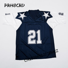 Retro star #21 Deion Sanders Embroidered Throwback Football Jersey(China)