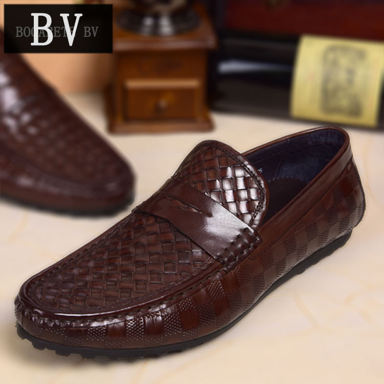 2014 winter new brand men's fashion head layer cowhide woven man peas leather shoes men's casual shoes comfortable driving