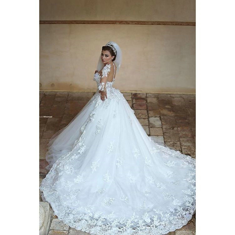Long Sleeve Wedding Dresses With Long Trains : Long sleeves wedding dress lace appliqued ball gown train