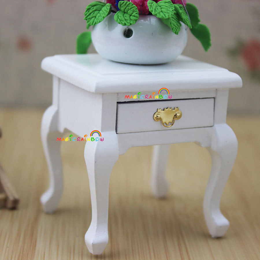 Bed Side Table Cabinet w/Drawer for Bedside Lamp White Dollhouse Miniatures 1:12(China (Mainland))