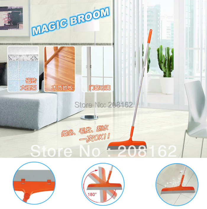Magic Broom Sweep Dust Hair Bathrooms Wiper Brooms Rotate Connector Rubber Mop Cleaning Tools(China (Mainland))