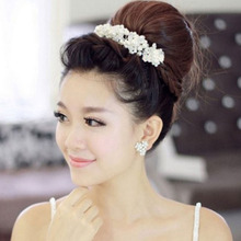 Free Shipping Han edition hair White pearl crystal bride headdress by hand Wedding dress accessories bridal hair jewelry(China (Mainland))