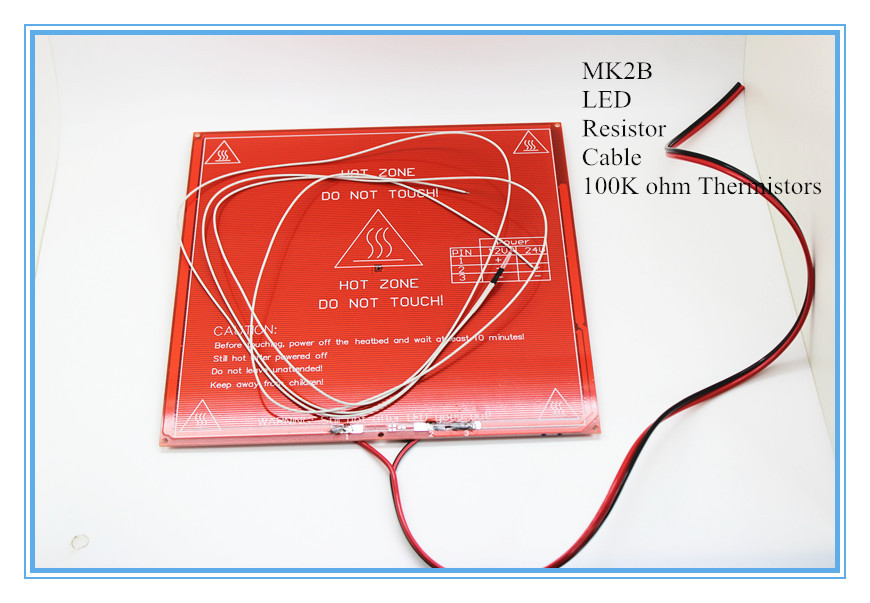 Гаджет  3D Printer Parts MK2B Heatbed + LED + Resistor + Cable + 100K ohm Thermistors  PCB Heated Bed White Red Black Color! None Электронные компоненты и материалы