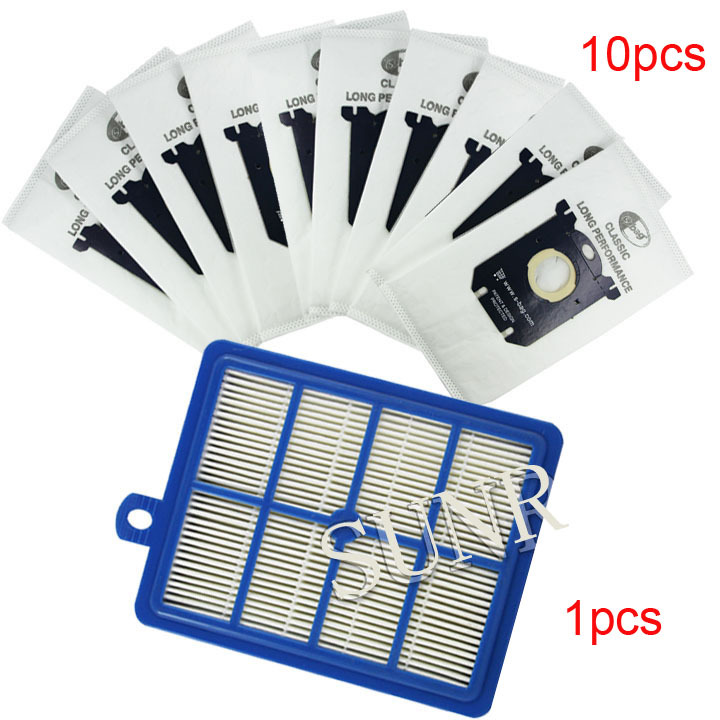 1pcs Replacement hepa filter h12 & 10 pcs Dust Bags for Electrolux Vacuum Cleaner filter electrolux hepa and S-BAG(China (Mainland))