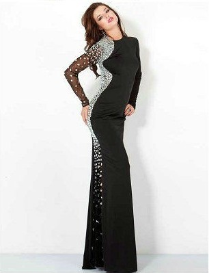 Vestidos ну вечеринку официальный платья платья плиссировка вышивка бисером полный рукав длинная сексуальный джерси ну вечеринку платья обычный заказ