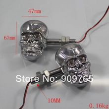 1 Pair Chrome LED Skull Turn Signals Light for Suzuki Marauder S40 M50 C90 Gsxr Honda Goldwing VT CB Kawasaki ZX VN Ninja Ducati