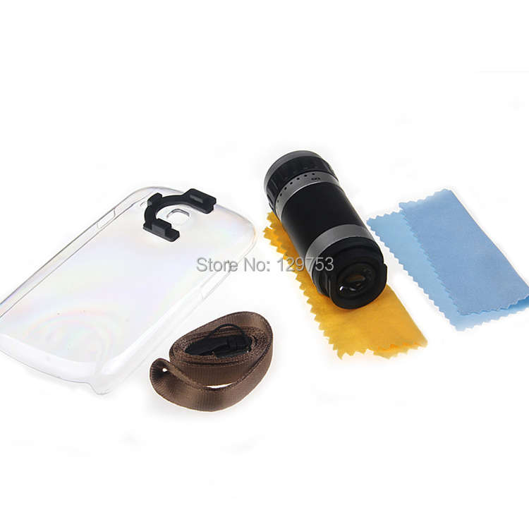 8x Zoom Optical Lens Phone Telescope Camera Lens with Case for Galaxy S3 mini i8190, Free Shipping