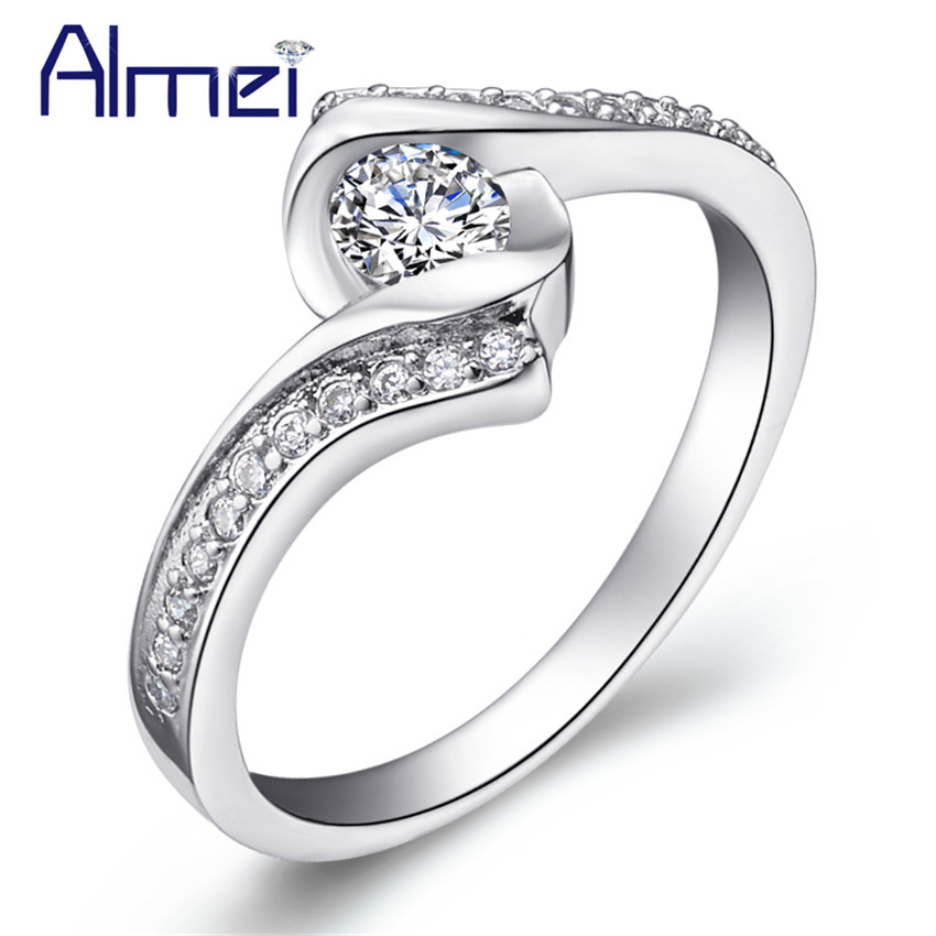 for women girls jewelry cz round zirconia crystal engagement ring best