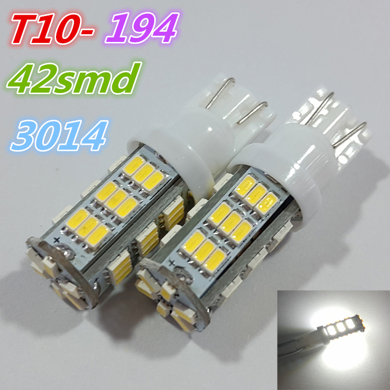2pcs x T10 194 168 W5W Wedge 3014 42 SMD LED Car Tail light Car Tail Light Lamp Bulb for car Parking led License Plate Lights(China (Mainland))