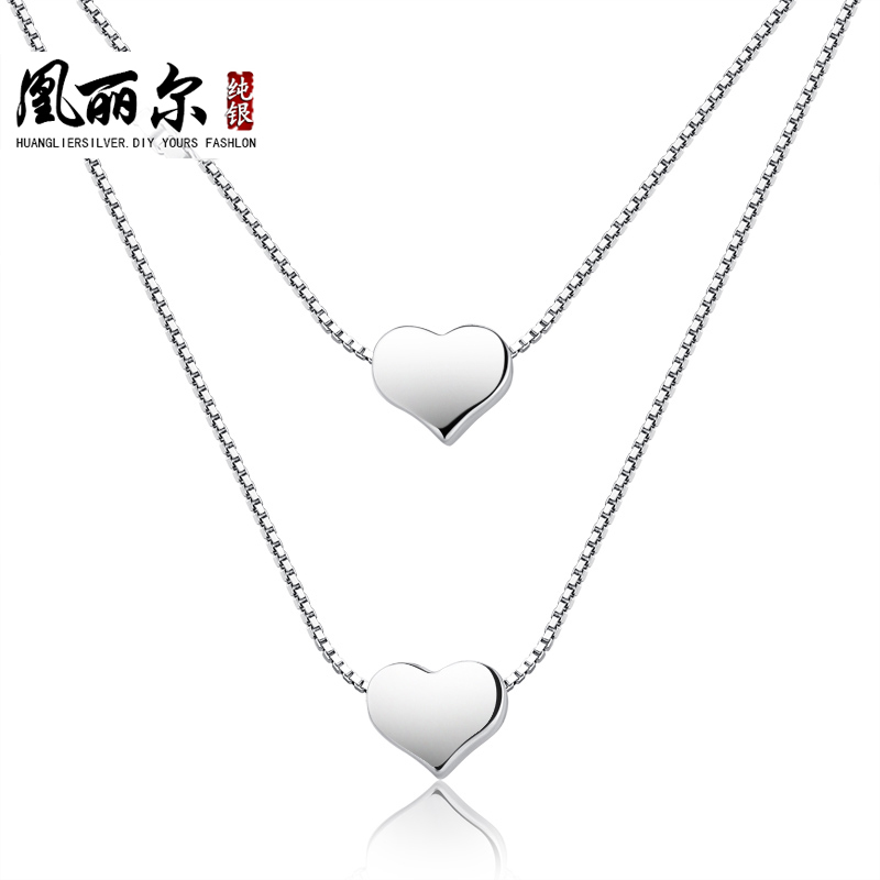 925 silver necklace double short paragraph Korean female couple necklace pendant fashion accessories clavicle chain silver jewel(China (Mainland))