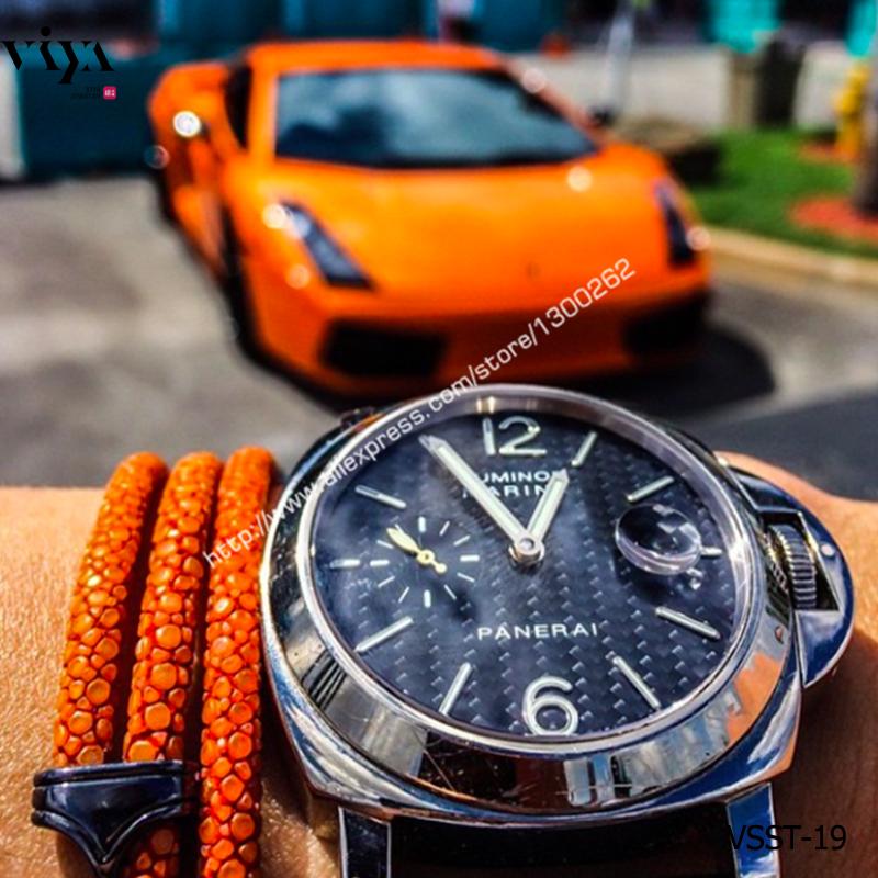 Orange Handmade Stingray Leather Bracelet For Orange Lamborghini Sports Car 925 Silver Bracelet With Gift Box Bracelet For Men<br>