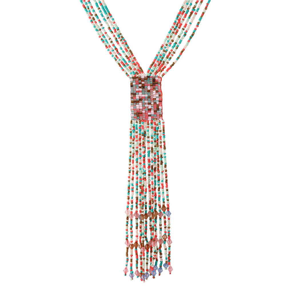 Bohemian Jewelry 2016 Summer Necklace Luxury Jewelry Women 4 Colors Beads Multi Layer Long Maxi Statement Necklace Gift IN1733(China (Mainland))
