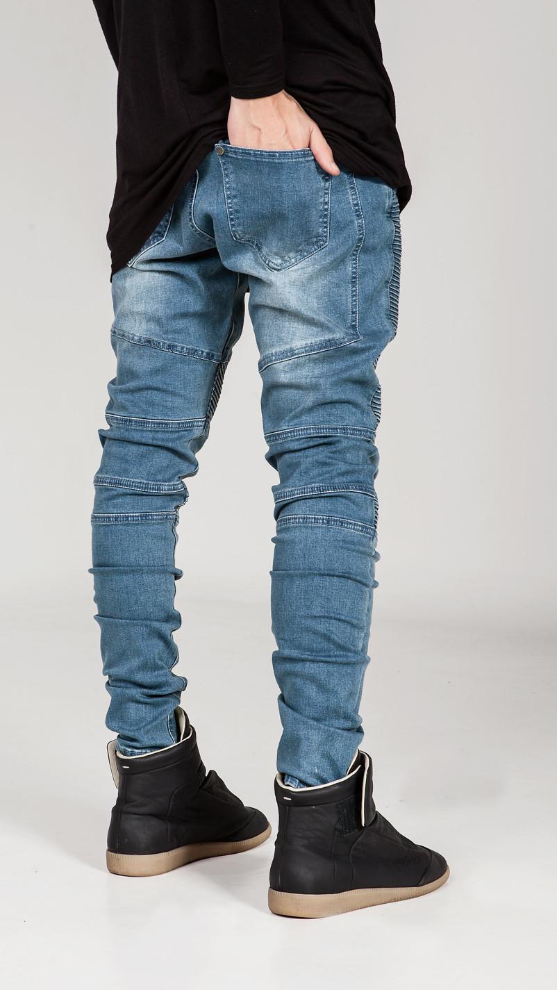 European&American Biker Jeans Mens Skinny Motorcycle Jeans Hip Hop Elastic Pleated Denim Pants Z1099