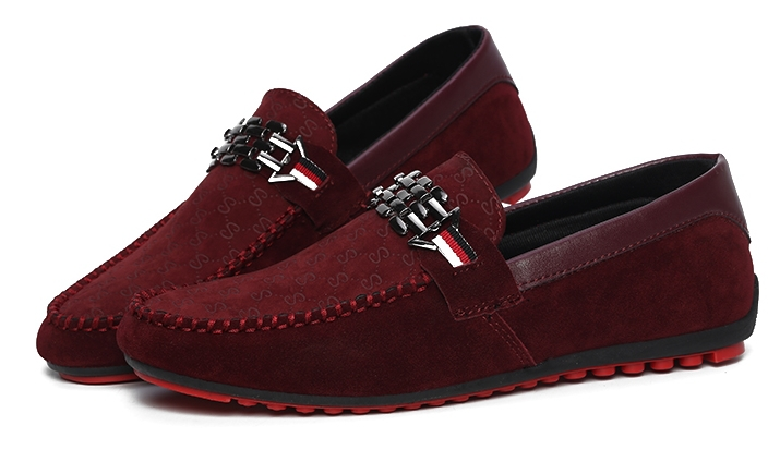 Burgundy Velvet Shoes Mens