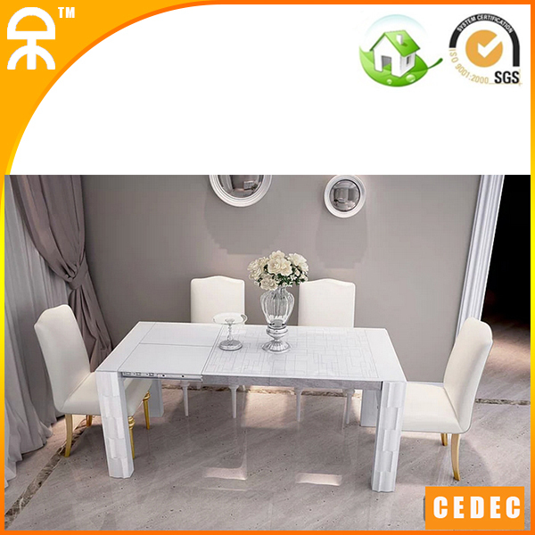 Table 4 Chair Modern White Extend Dining Table For Small