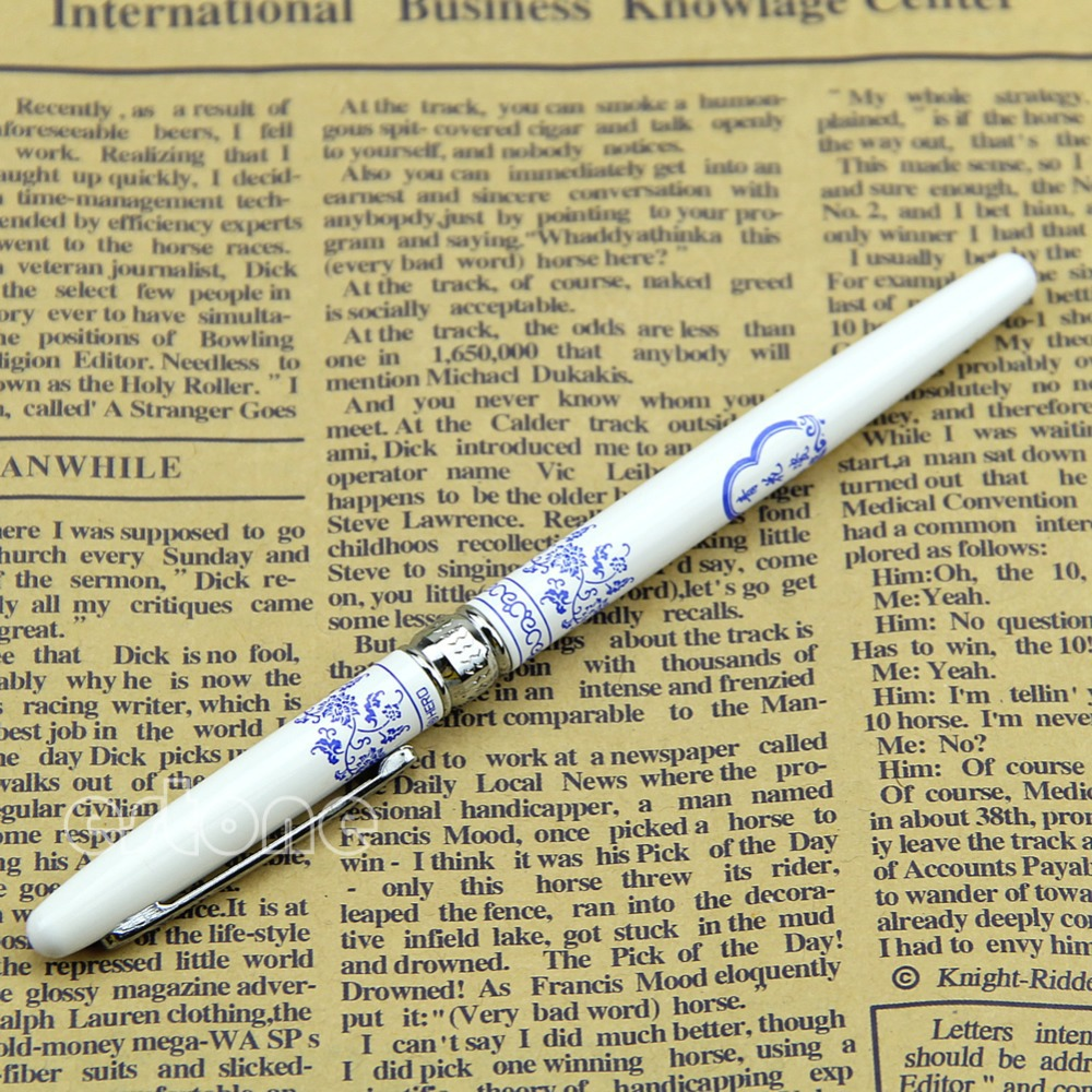 M112 inchChinese Blue White Porcelain Pattern Hero Fountain Pens 9623 Fine Nib Pen - Shenzhen YST Co.,ltd store