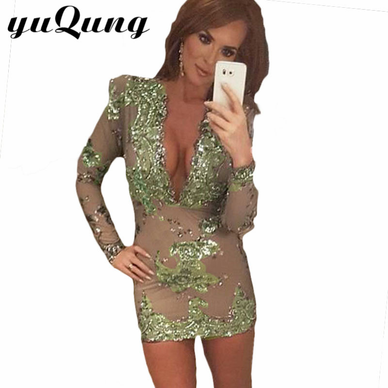 Women sequins dress paillette Long sleeve sequined dresses Sexy Club Night deep V neck Gold vintage party bodycon dresses green(China (Mainland))