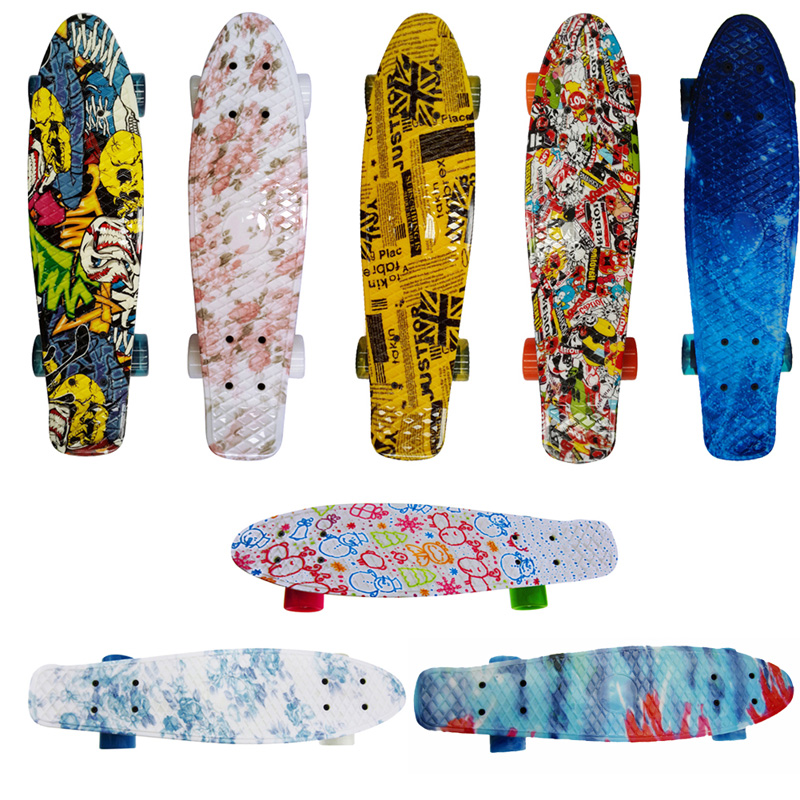 "8 Choices Skateboards giroskuter skiing on 2 wheels for driving New Style Outdoor Retro Mini Board Complete 22"" Plastic Board(China (Mainland))"