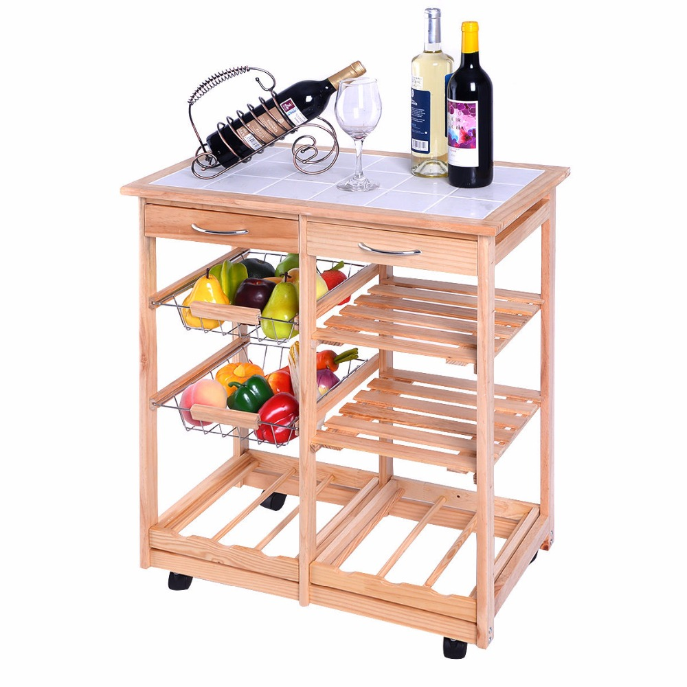 New Rolling Wood Kitchen Trolley Cart Dining Storage Drawers Stand Durable HW49745NA(China (Mainland))