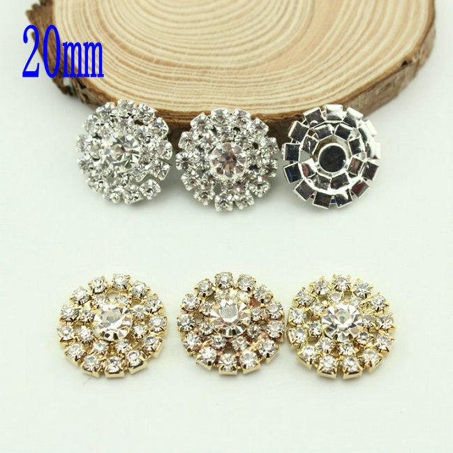 Free Shipping Wholesale 20mm Flat Back Rhinestone Button For Hair Flower Wedding Invitation 40pcs/lot BHP17020(China (Mainland))