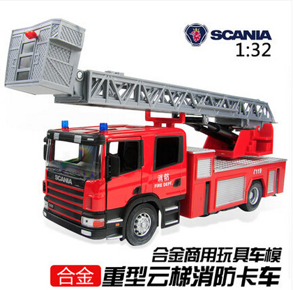 Big size 35cm Toy fire truck 1:32 Large ladder truck alloy model SCANIA firetruck City Rescue Series kids boy gift free shipping(China (Mainland))