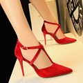 Female Pumps Red Shoes Cross Ankle Strap 10cm High Heel Platform Women Shoes Pointed Toe Ladies
