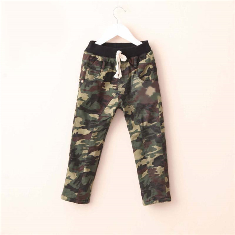 2015 winter new style baby boys fashion plus thickened long pants little boys camouflage pants A3255(China (Mainland))