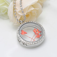 Water Proof High quality 25mm 30mm 316L stainless steel magnet floating locket with toughened glass locket for DIY necklace(China (Mainland))