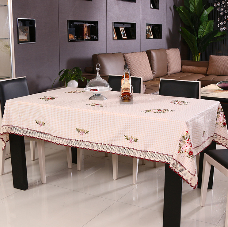 Pastoral Country Floral Cotton Embroidery Table Cloth for Rectangle Dinning Tables / Hand made Beige Tablecloth for Round Tables(China (Mainland))