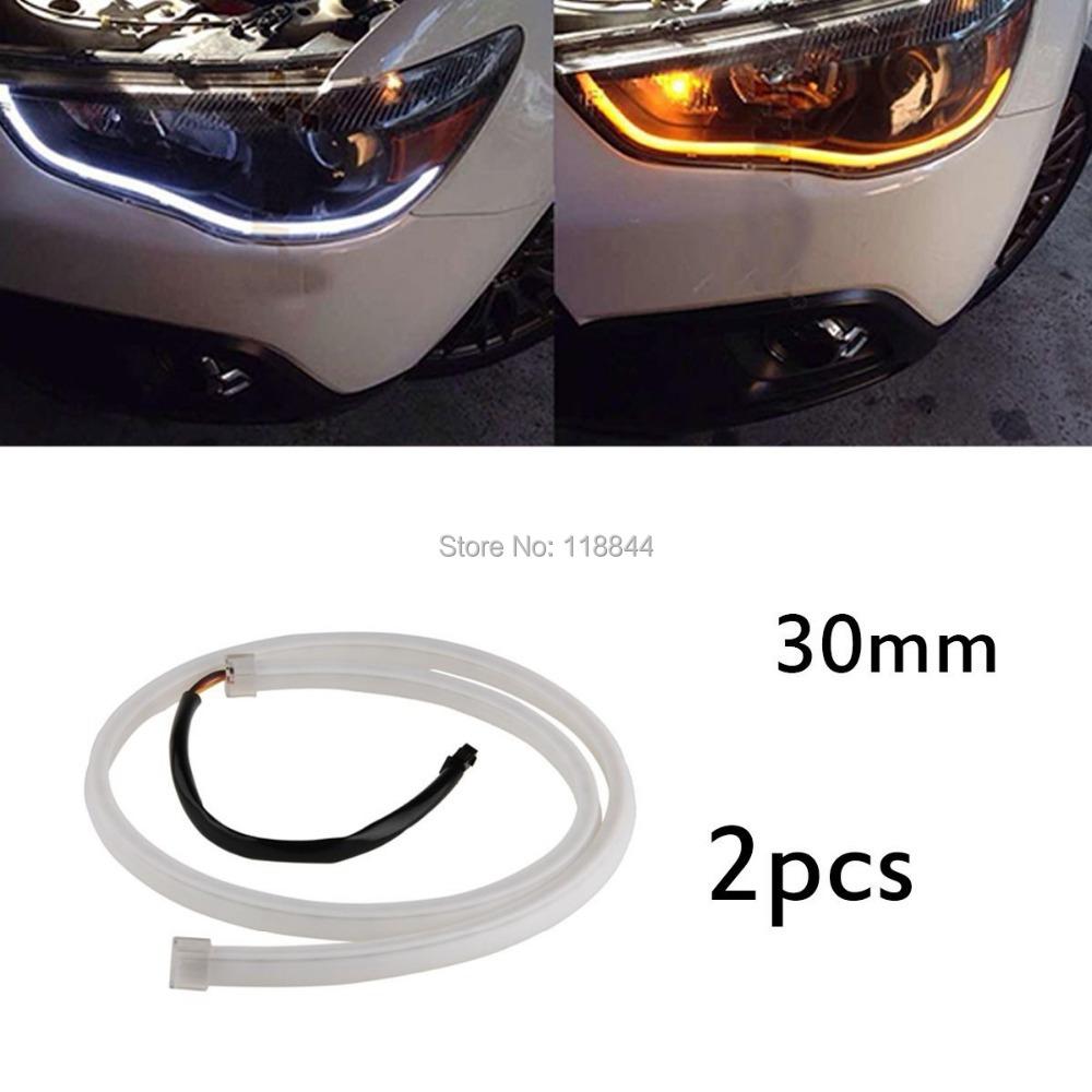 2Pcs 30cm Flexible Soft Tube Guide Car Daytime Running LED Strip White DRL&Yellow Turn Signal Lamp Light Source DC12V(China (Mainland))