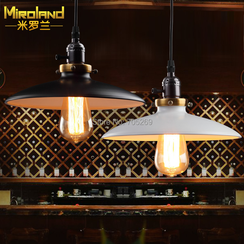 Lustres home Vintage Industrial Metal UFO Pendant Light Factory study room Lamps Guard white or black lampshade<br><br>Aliexpress