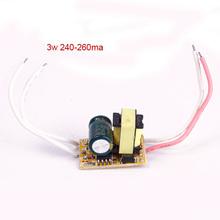 2X Nueva 3 W LED Driver de Corriente Constante fuente de Alimentación AC 85-265 V 260ma Luz #68439(China (Mainland))