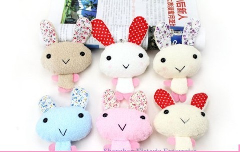 20PCS Super Cute Floral Rabbit DOLL; Plush Cell Mobile Phone Charm Strap Lanyard Pendant TOY; BAG Key Chain Charm DOLL; TOY(China (Mainland))