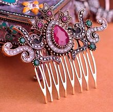 Vintage Women Hair Combs 2016 Brand Turkish Bijoux Green Crown Big Water Drop Acrylic Hairwear Antique Gold Hair Accessories VAZ(China (Mainland))